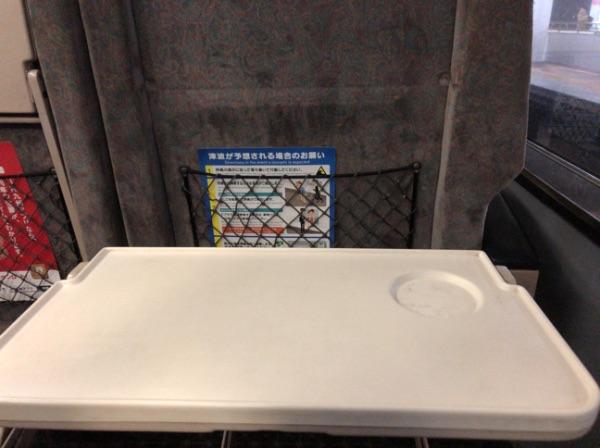 783系電車グリーン車のシートバックテーブル