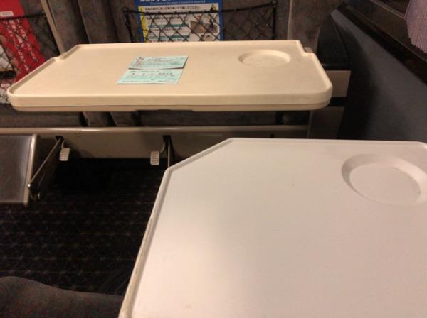 783系電車グリーン車のシートバックテーブルとインアームテーブル