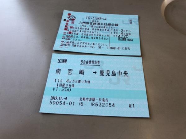 ぐるっと九州きっぷと南宮崎→鹿児島中央のB特急券