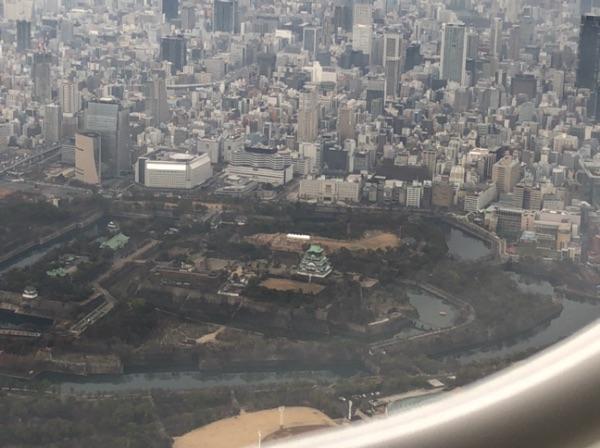JAL2400便機内から見た大阪城