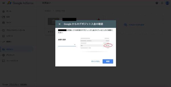 グーグルアドセンスのデポジット入力画面