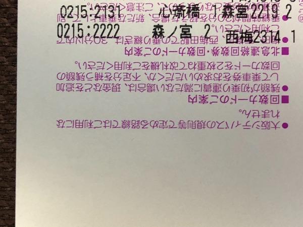 大阪メトロ・大阪シティバス1日乗車券の裏面