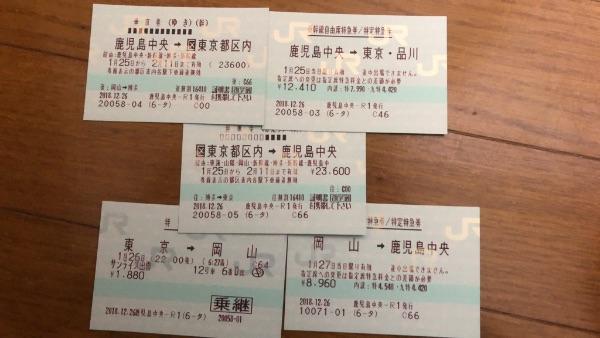 往復乗車券・新幹線特急券・在来線指定席特急券の5枚