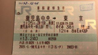 鹿児島中央・東京間の新幹線特急券