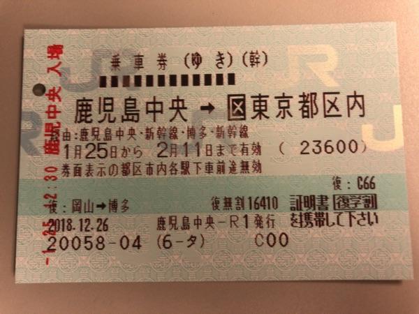 鹿児島中央・東京都区内のゆきの往復乗車券
