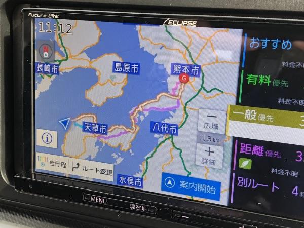 富岡港から熊本市内へのカーナビが示したルート