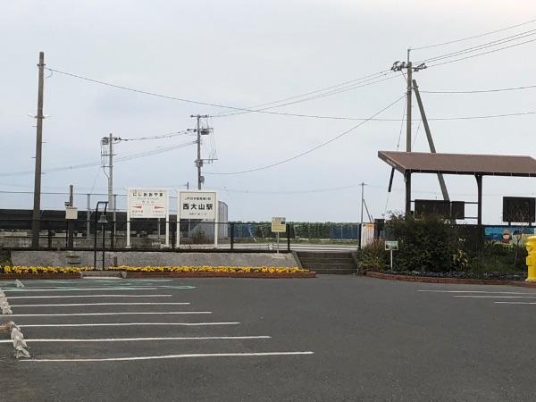 遠くから見た西大山駅