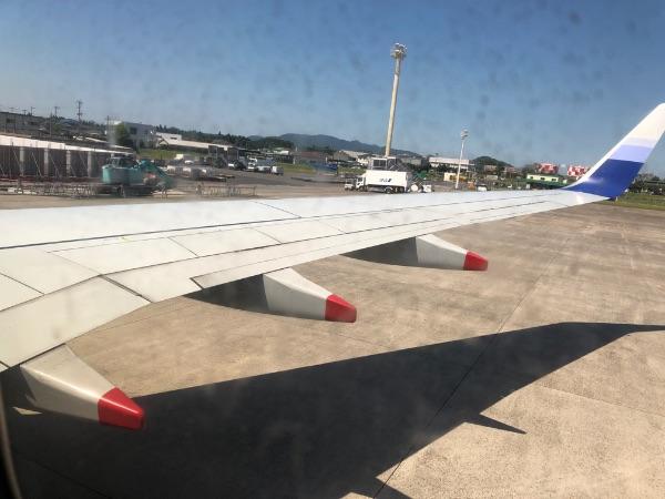 窓から見たCI119便の翼