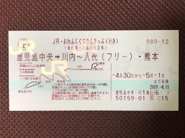 JR・おれんじぐるりんきっぷ(行き)