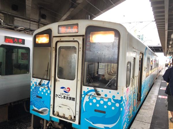 新八代駅に到着した肥薩おれんじ鉄道HSOR-100形気動車