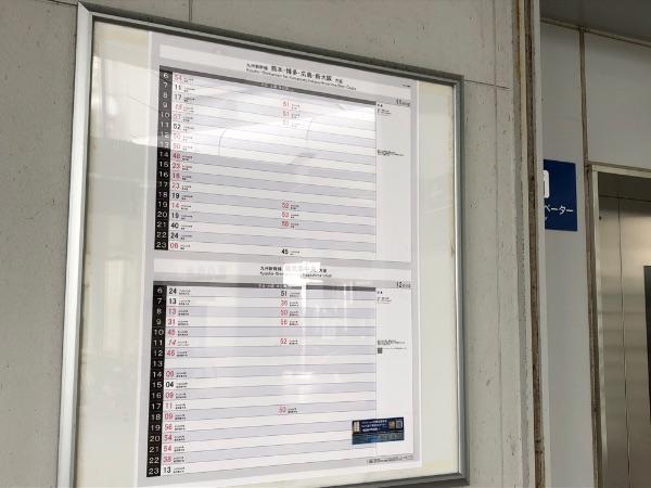 新八代駅新幹線駅舎の時刻表