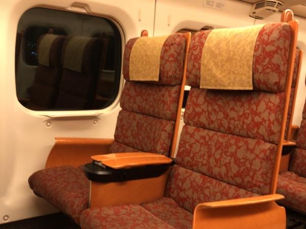 800系新幹線の普通車指定席の座席