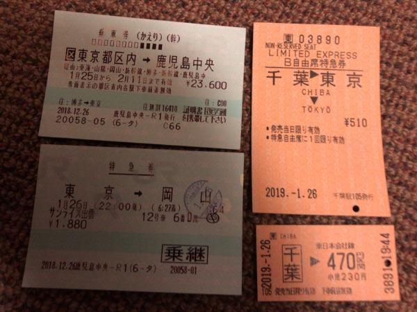 乗車券2枚、特急券2枚の計4枚のきっぷ