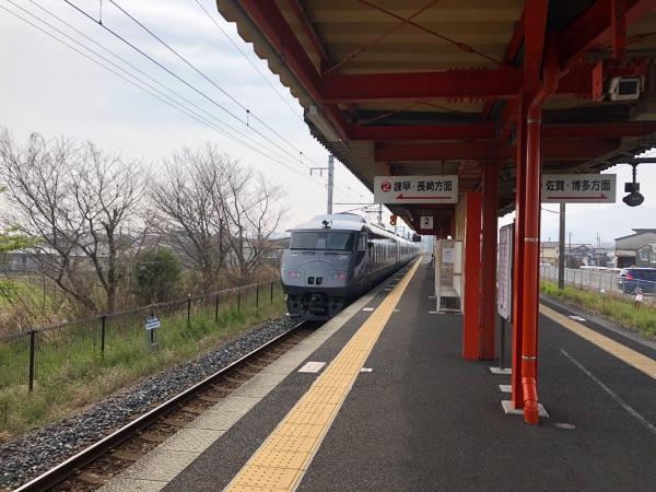 肥前鹿島駅を発車したかもめ13号