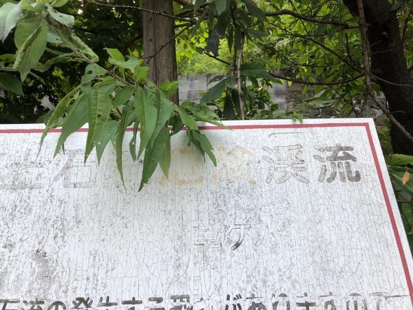 竜ヶ水駅近くの土石流危険渓流を示す看板の拡大写真