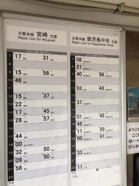 竜ヶ水駅構内の時刻表