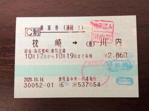 使用済みの枕崎・川内間の連続乗車券1枚目