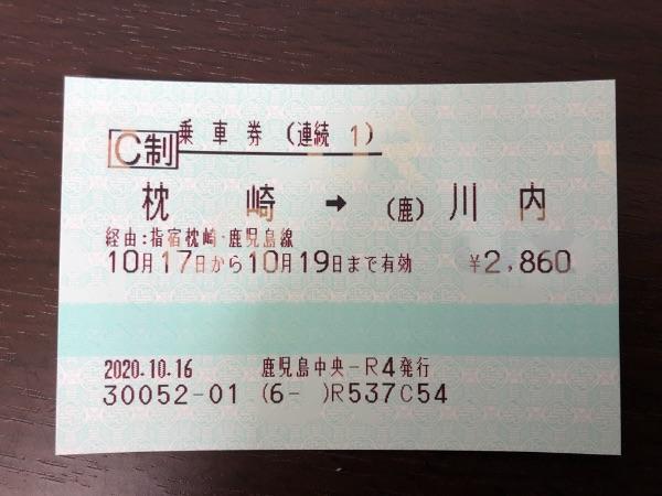 枕崎・川内間の連続乗車券1枚目