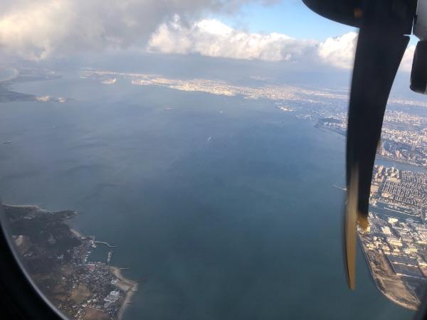 JAC3652便から見た博多湾