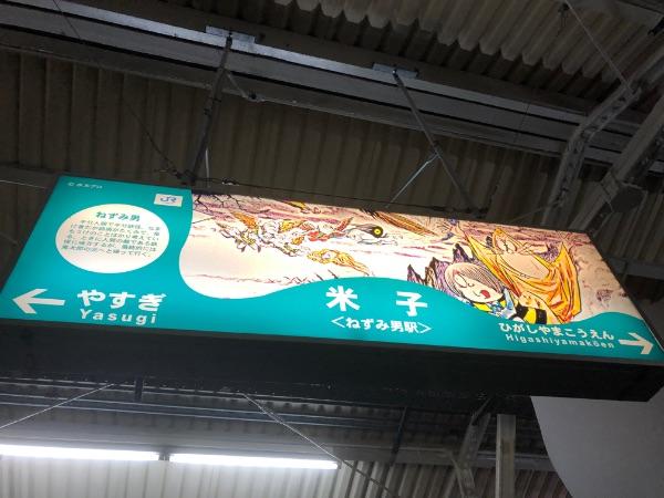 米子駅(ねずみ男駅)の駅名標