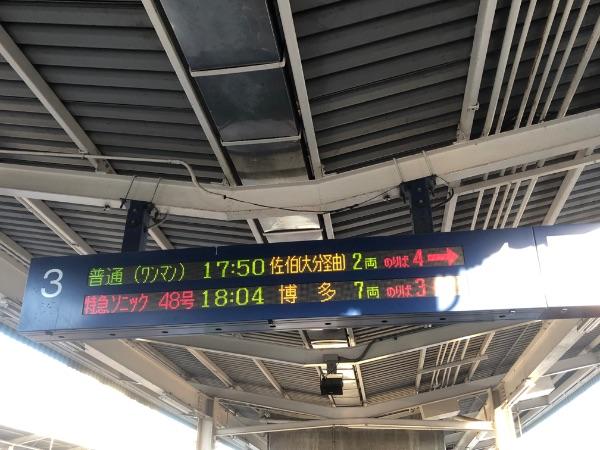中津駅の発車標