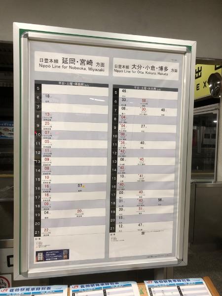 佐伯駅にある時刻表