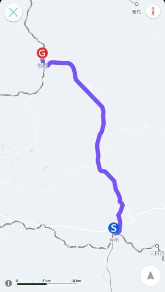 佐用駅から智頭駅までの智頭急行線経由のルート
