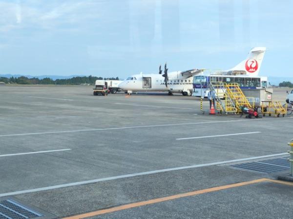 鹿児島空港に着陸したJAC3804便
